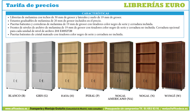 Tarifas librer as de oficina serie euro muebles y for Euro muebles