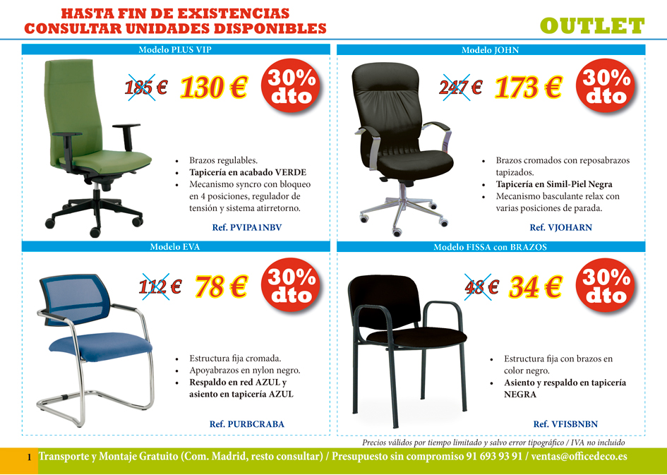 Outlet pagina 1 muebles y sillas de oficina for Muebles de oficina outlet