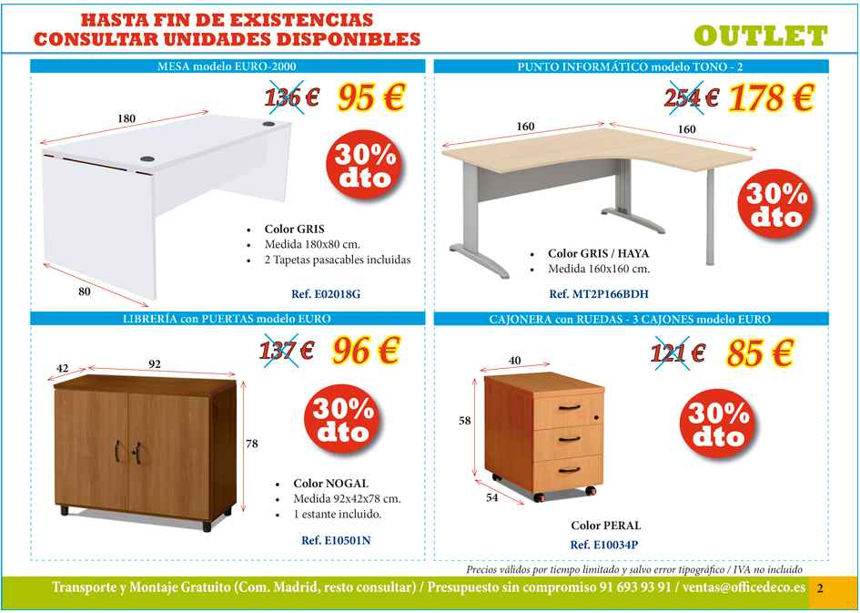Outlet pagina 2 muebles y sillas de oficina for Muebles de oficina outlet