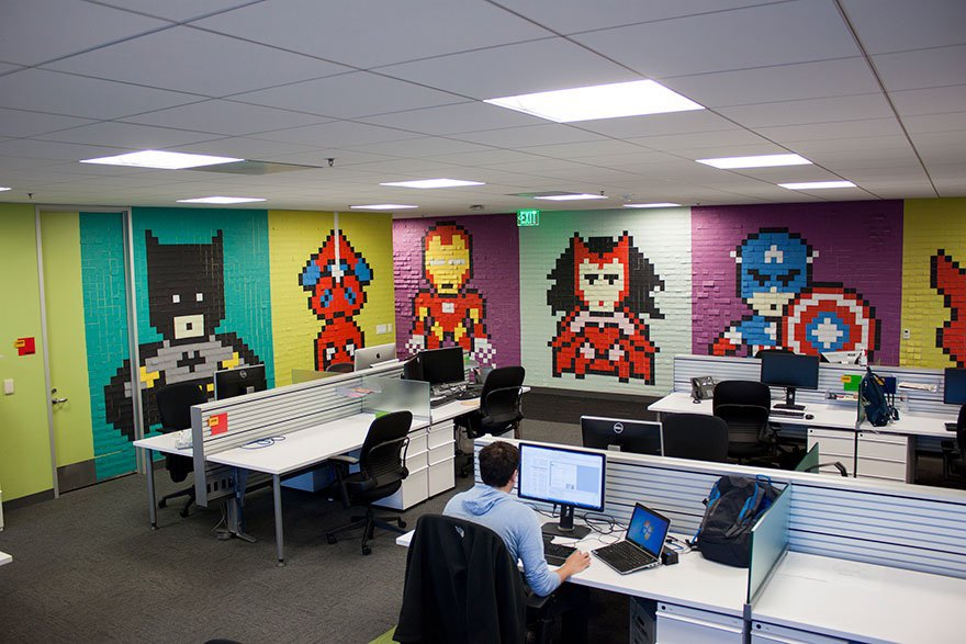 oficinas-post-it-super-heroes-6 Diseño interior afecta a su salud.