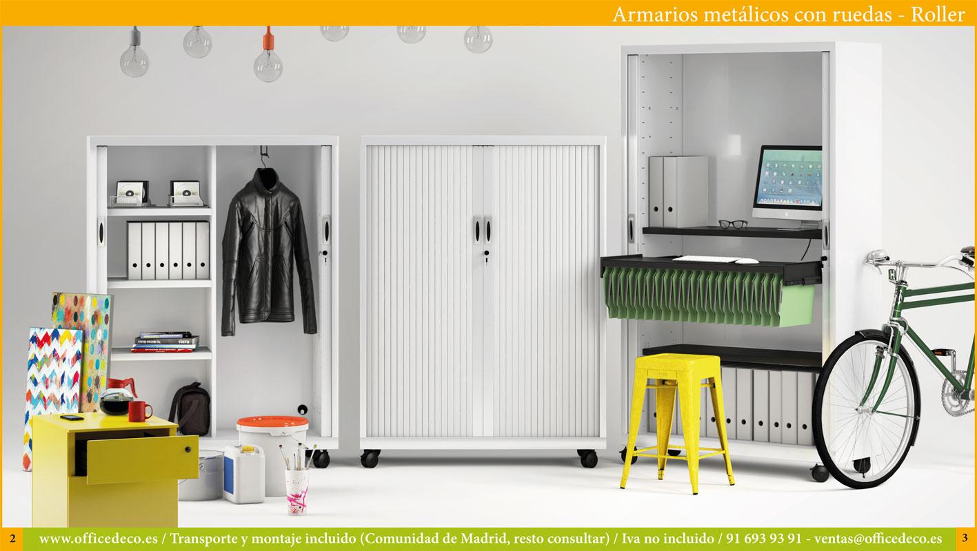 armarios metálicos de persiana con ruedas