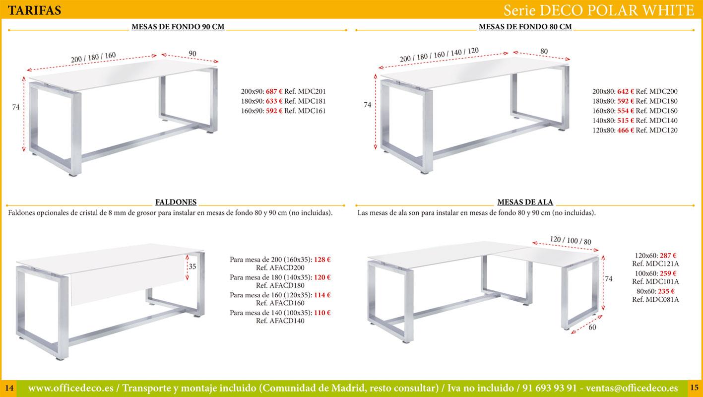 mesas de cristal polar white