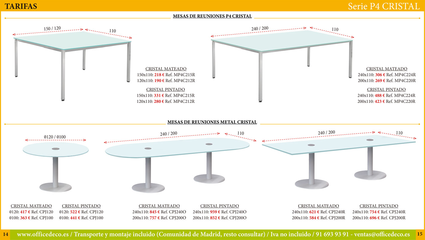 muebles y mesas de oficina en cristal serie P4