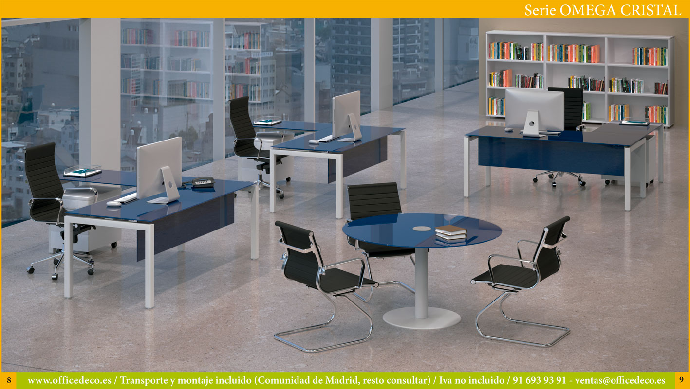 muebles y mesas de oficina en cristal serie Omega