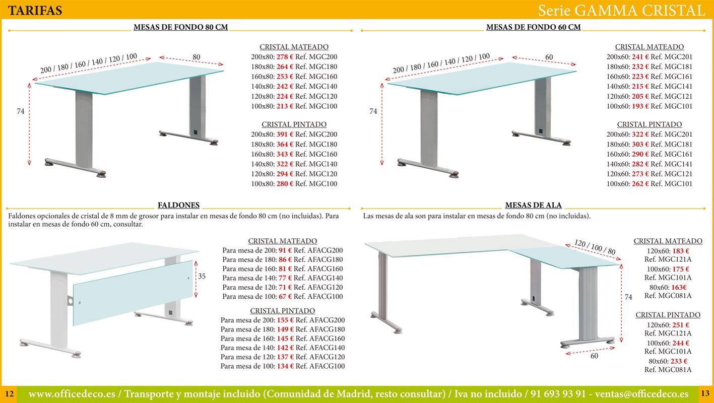 muebles y mesas de oficina de cristal serie Gamma