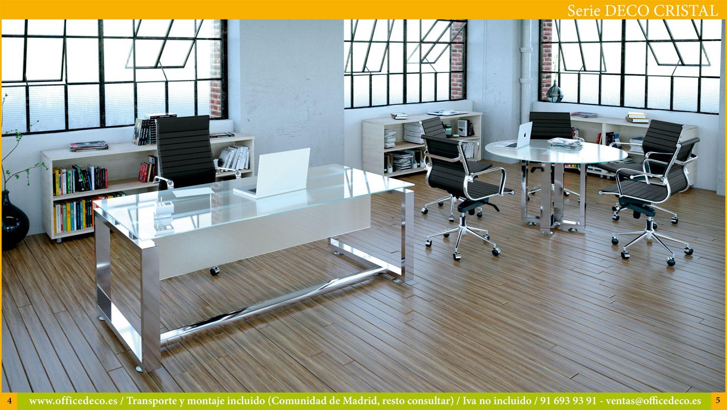 muebles y mesas de oficina en cristal serie deco