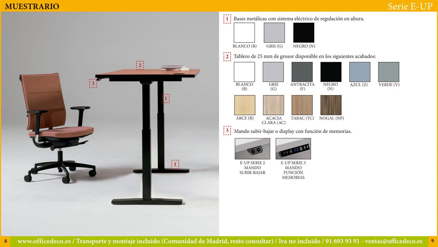 mesas regulables eléctricas serie E-UP