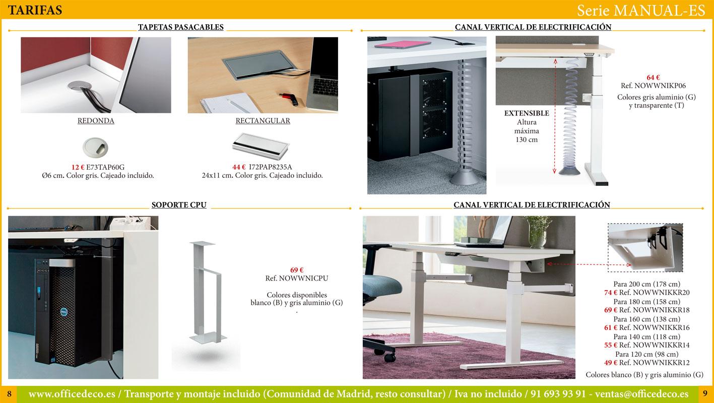 mesas de oficina regulables manual