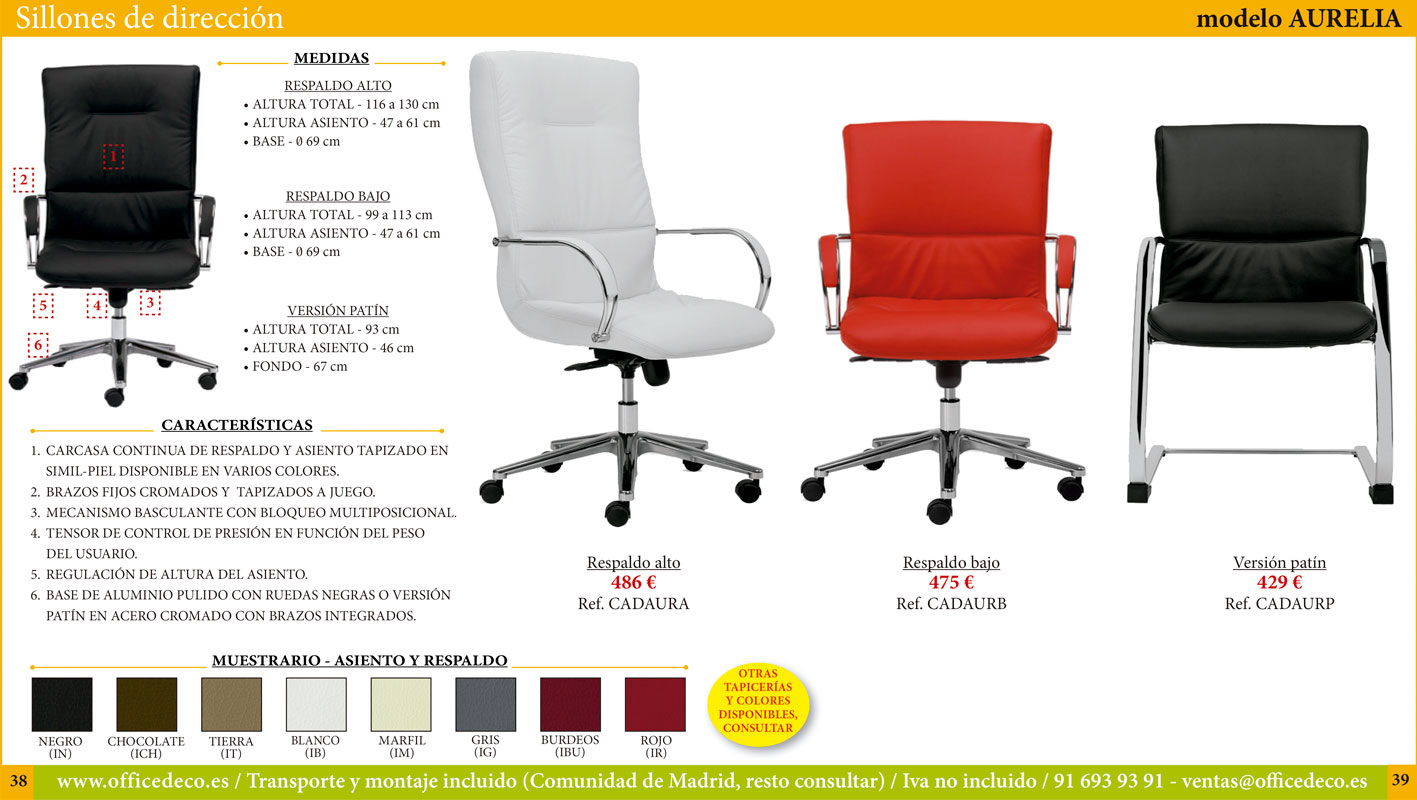 sillas y sillones de dirección