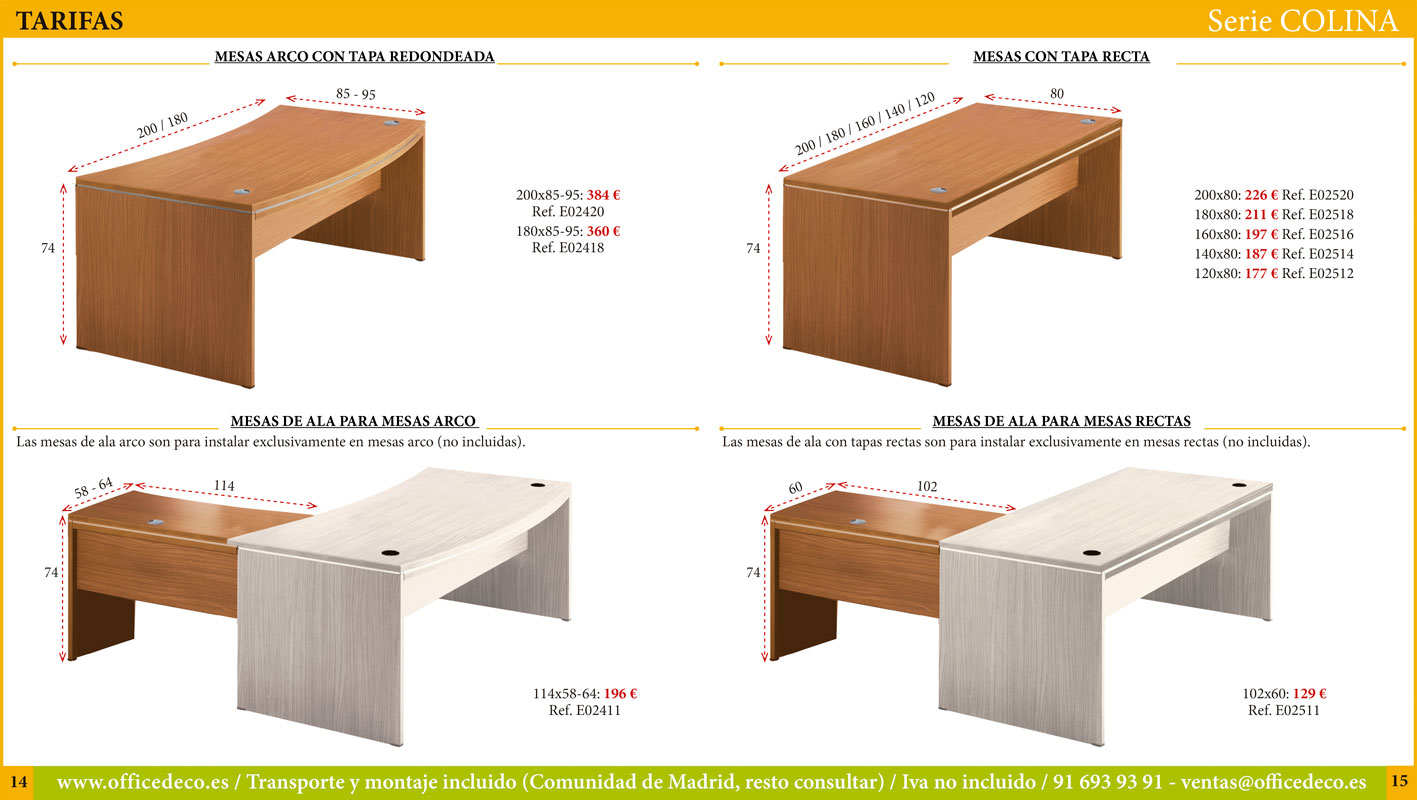 muebles dirección Mesas de oficina Serie Colina