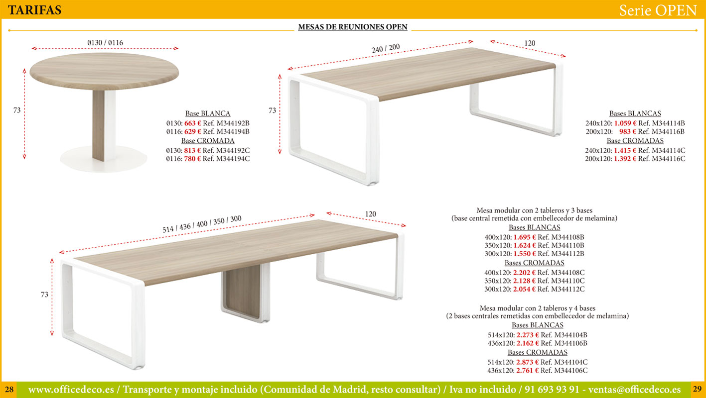 mobiliario dirección serie Open